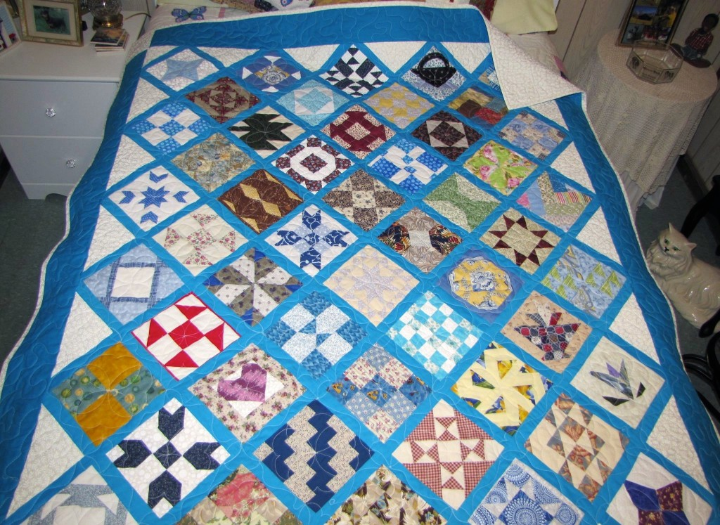 Linda's Quilt-Along Sampler, made together with a friend block exchange.